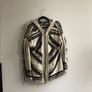 Free People Hooded Zip-up Sweater